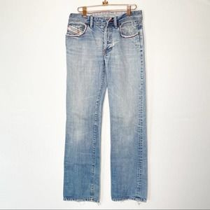 Diesel Distressed Button Fly Straight Leg Jean